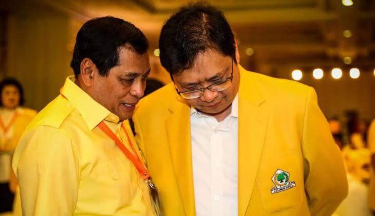 Ketua DPP Partai Golkar Airlanga Hartarto bersama Nurdin Halid. (Int)