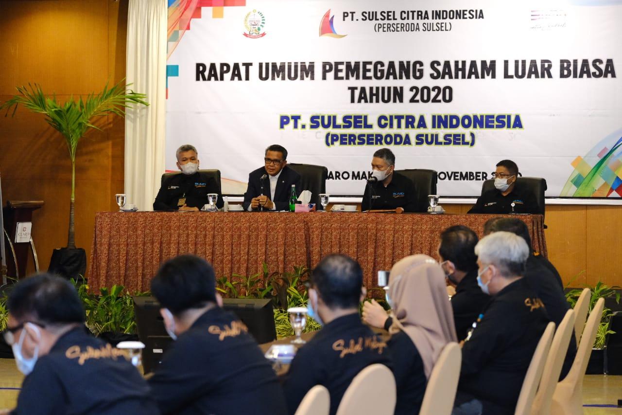 Gubernur menghadiri rapat umum pemegang saham luar biasa tahun 2020 PT Sulsel Citra Indonesia (Perseroda). (Ist)