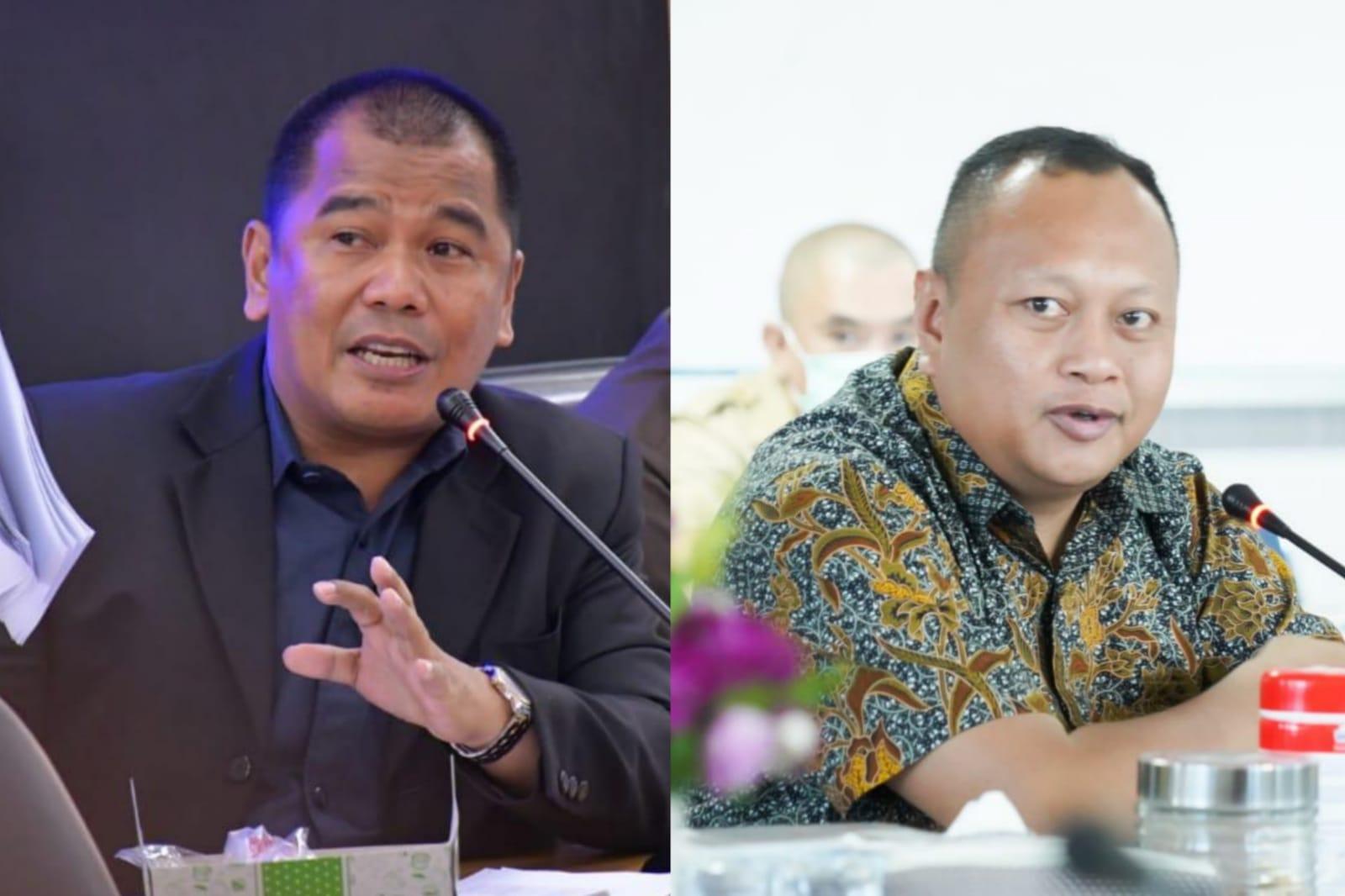 Sekreatris Fraksi Partai Golkar Sulsel Rahman Pina dan Ketua Fraksi Partai Nasdem Sulsel Ady Ansar (batik) berbeda pandangan dalam menyikapi LKPJ Gubernur 2020. (Dok)
