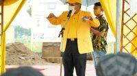 Ketua DPD I Partai Golkar Takalar Taufan Pawe saat memberikan sambutan di acara pelatakan batu pertama Kantor Golkar Takalar, Senin 15 Februari 2021. (Ist)