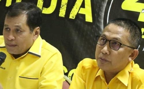 Ketua Golkar Makasar Farouk M Betta bersama Ketua Golkar Sulsel Nurdn Halid. (Int)