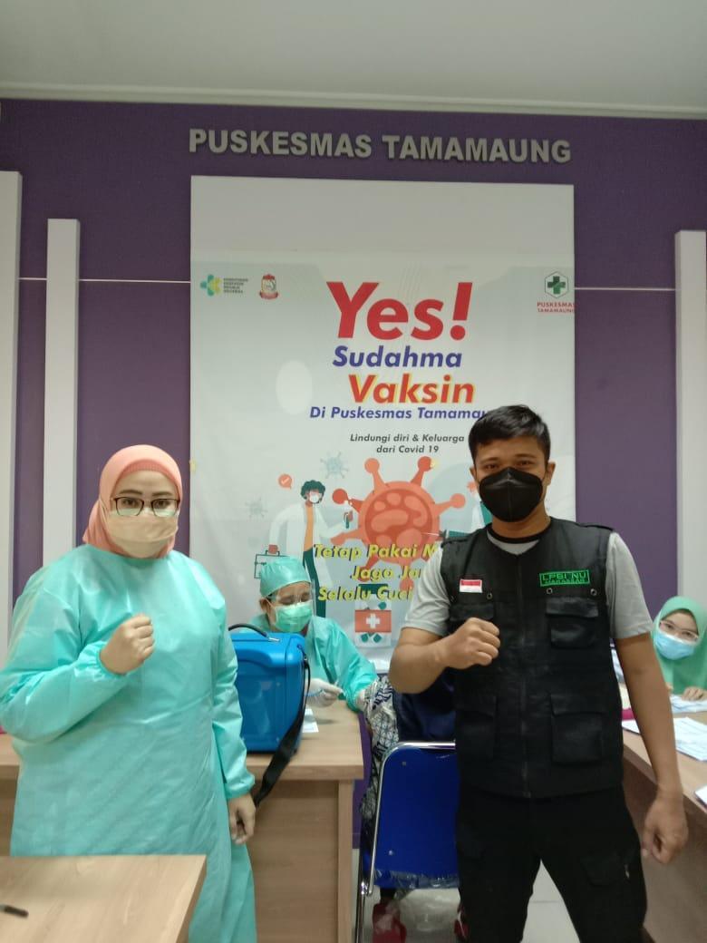 LPBI NU Makassar mengajak warga ikut vaksinasi. (Ist)