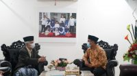 Plt Gubernur Sulsel Andi Sidrman Sulaiman bertemu dengan KH Sanusi Baco, Senin 1 Maret 2021. (Ist)