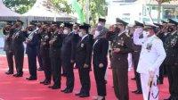 Plt Gubernur Sulsel Andi Sudirman saat hadir di peringatan HUT TNI. (Int)