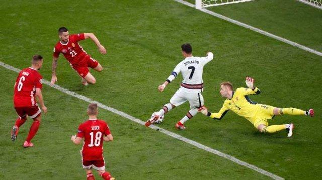 Ronaldo antarkan Portugas meraih kemenangan melawan Hungaria di EURO 2020, Rabu 16 Juni 2021 dinihari. (Int)