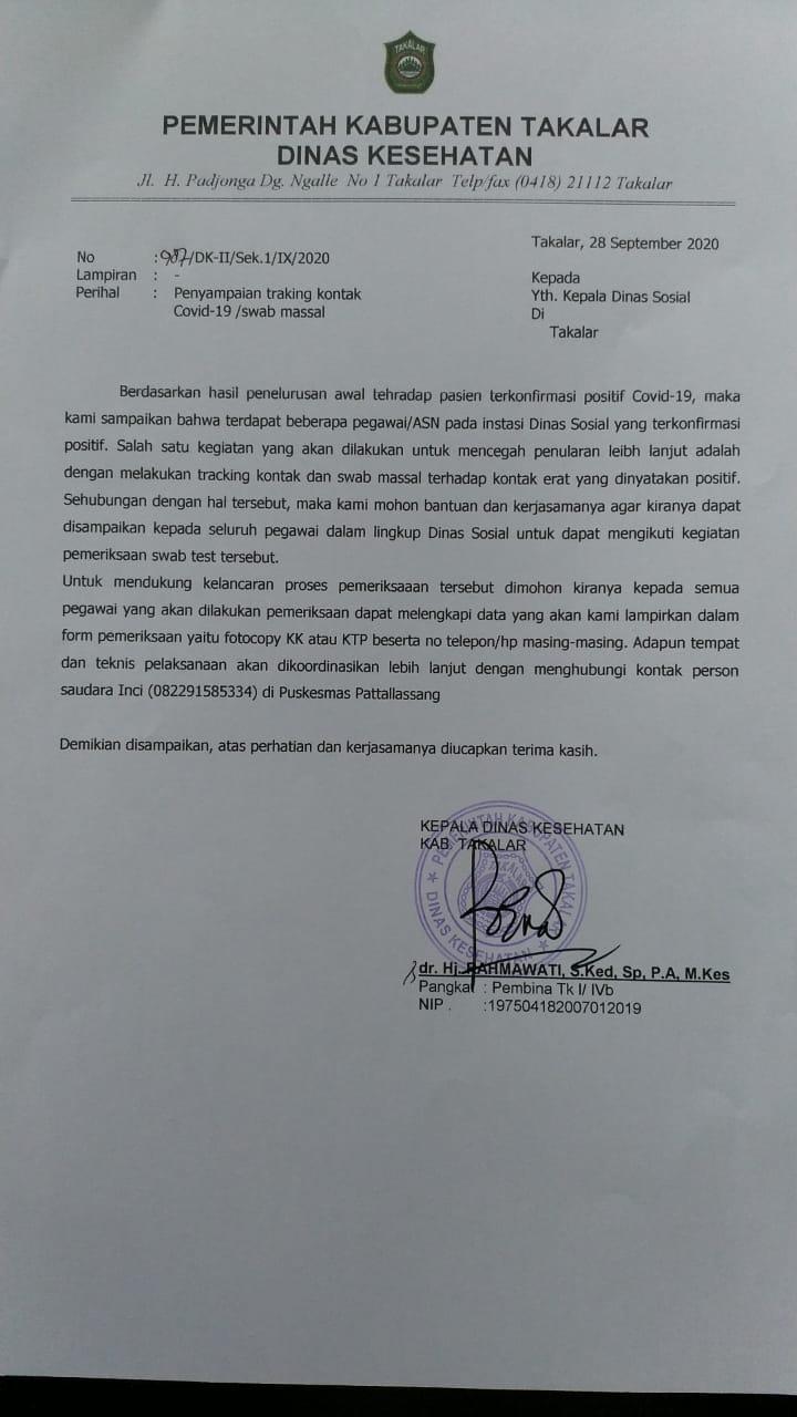 Satgas penanganan Covid 19 Takalar akan melakukan swab massal bagi pegawai Dinsos, Selasa 29 September 2020. (Ist)