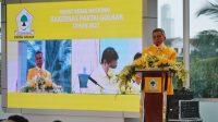 Ketua DPD I Golkar Sulsel Taufan Pawe saat berbicara di Rapimnas DPP Partai Golkar, Jumat 5 Maret 2021. (Ist)