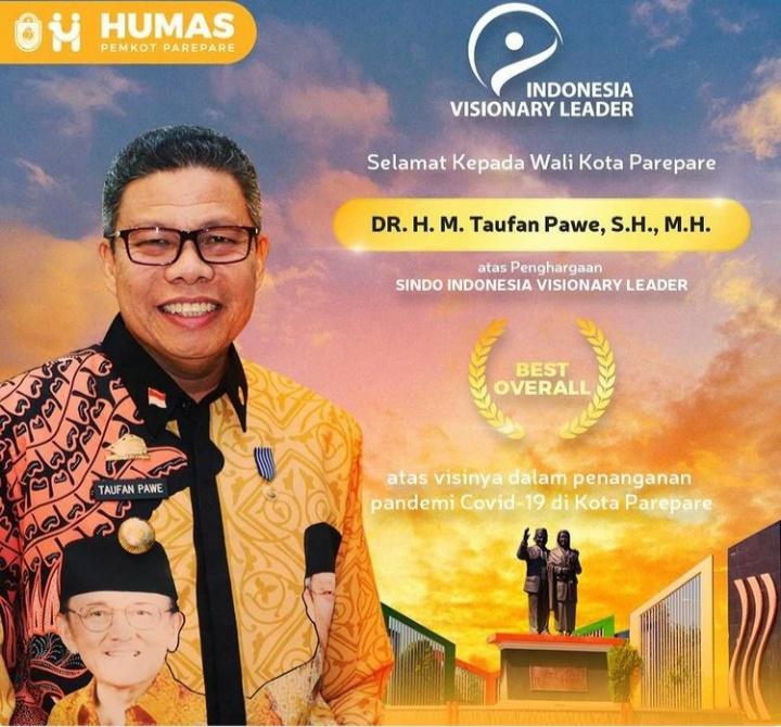 Walikota Parepare mendapatkan penghargaan Indonesia Visionary Leader, Kamis 22 Juli 2021. (Ist)